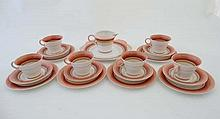 A Shelley Regent shape part tea set, decorated in bands of pink and brown on a w