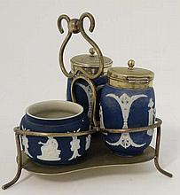 A 19thC Adams Tunstall, England blue Jasperware cruet set on silver plate base w