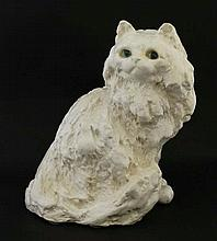 A white Winstanley Persian cat figure. Signed under.  8 1/2'' high.   Please