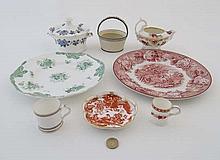 A quantity of ceramics to include : A c1835 Copeland & Garret  green and white t