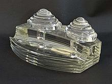 Art Deco glass double inkwell / desk stand : a clear solid glass double Standish