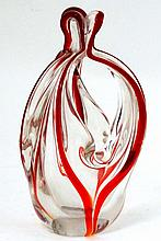 Retro Art Glass : A clear and red swirl glass basket / dish of stylised form . A