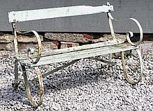 Garden and Architectural : an old painted Garden Bench with slatted oak seat and