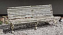 Garden and Architectural : an old white painted slatted Garden Bench  ( longer t
