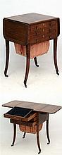 A Regency rosewood  ladies work box / table with two drawers and sewing kee
