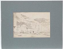 William Daniell ( 1769-1837) Indian Topographical Sepia watercolour and pen