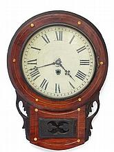 Drop dial clock : a 19 th C brass inlaid Rosewood cased 11 1/2'' Timepiece