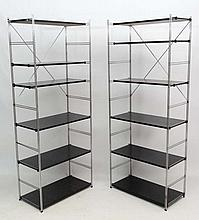 Vintage Retro :  a pair of shelving units with adjustable height shelves ma