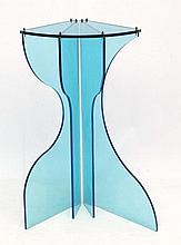 Vintage Retro :  a blue Perspex bowfronted corner shelf and support / corne