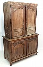 A late 19thC French Farmhouse cupboard on cupboard. 60'' wide x 92'' high x