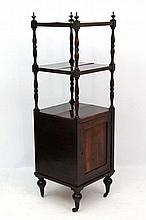 A 19thC rosewood what- not with cupboard under 58 1/2'' high x 18'' sq.