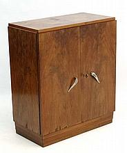 A French Art Deco burr walnut 2-door cupboard with louvered plinth 27'' wid