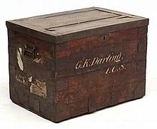 Militaria : An early 20thC Batman's trunk , of slatted pine construction wi