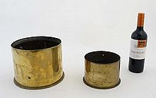 Militaria : Two WWI Imperial German artillery shell cases (inert), comprisi