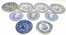 A collection of 9 late 19th/early 20thC blue and white transfer printed pla