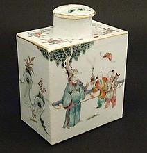 A Chinese famille rose tea caddy decorated in polychrome enamels with figur