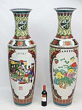 A pair of exceptionally large 20thC Oriental style floor vase's , each havi