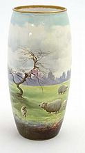 An early 20thC  Royal Doulton ovoid vase with hand painted decoration featu