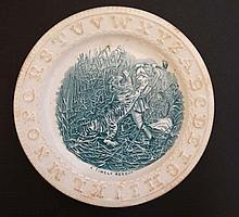 A 19thC child's C.A & Sons ABC nursery plate '' A Timely Rescue '' decorate