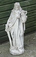 18th / 19th sandstone figure of ' Liberty ' stood holding a sword and a man