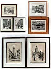 Seven framed views of old London consisting of a