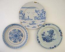 A collection of 3 18thC tin glazed plates