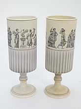 A pair of Dutch pottery vases printed en grisaille