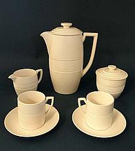A Wedgwood Keith Murray coffee set in Moonstone,