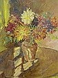 Nancy Huntly Oil on board 'Dahlias' Still Life, flowers within a vase 20in x16in Has Royal Institute of Oil Painters label verso.