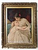 XIX English Chromolithograph A mother and her