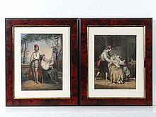 Pair of 19th Century coloured stone engravings