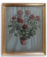 XIX-XX Oil on canvas Still life of Dahlias in a