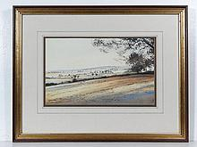 R M Bolton 1984 Watercolour Landscape vista Signed