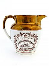 A c1821 commemorative lustred jug God Save Queen
