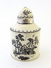A late 18th Century Leeds cream ware tea caddy,