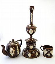 A rare Victorian Measham Ware / Barge Ware Smokers