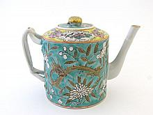 A Chinese enamelled teapot of slightly tapered