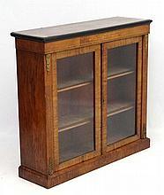 A 19thC inlaid burr walnut 2-door display cabinet