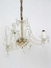 A late 20thC three branch glass hanging electrolie