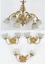 A gilt brass electrolier / chandelier with 6 branc