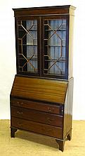 An early 20thC mahogany bureau bookcase with
