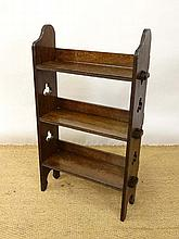 A c.1900 oak open bookcase with Gothic pierced