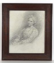 J Sydall 1902 Pencil portrait A seated lady Signed