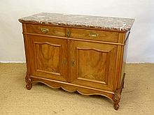 A Louis XV style rouge marble topped walnut