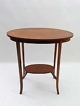 An Edwardian boxwood lined oval 2-tier occasional