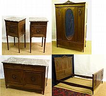 A French Louis XVI style oak 5-piece bedroom suite