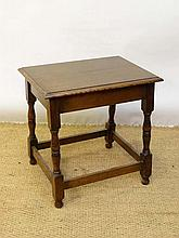An early 20thC oak jointed table / stool 22