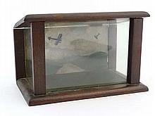 WWI : A small glass and mahogany display cabinet,