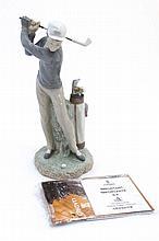 A Lladro '' Golfer '' figure group by Vincente Mar