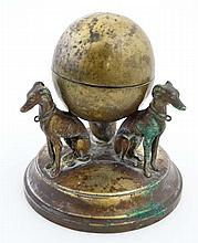 A 19thC inkwell in the form of 3 greyhounds / long